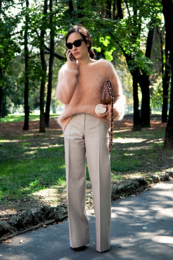 Chic with wide legged trousers and half tucked in