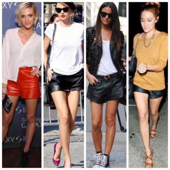 Celebrity leather shorts paired with casual tshirts