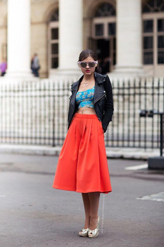 orange midi skirt