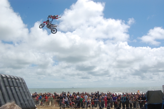 Motorbike tricks on the beach